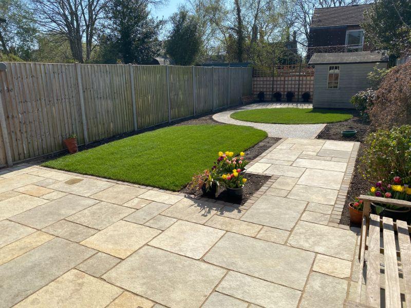 back garden with green grass