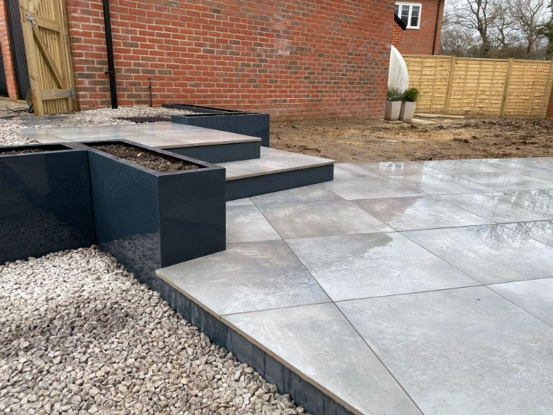 built patio with stairs